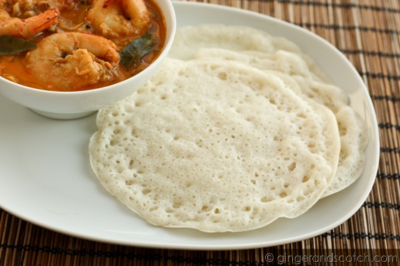 Homemade Appams with Shrimp Curry