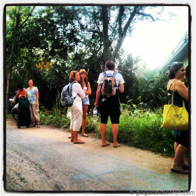 Waiting for the boat ride to our Mekong homestay