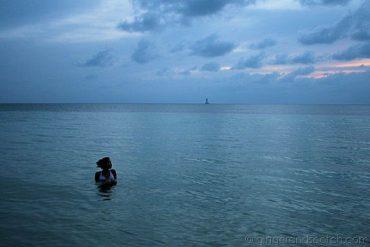 Enjoying a sunset dip in Praslin