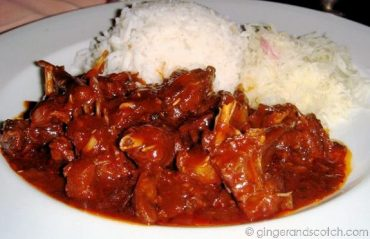 """""""flying fox"""" braised in a red wine sauce"""