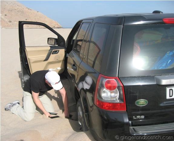 SUV stuck in sand