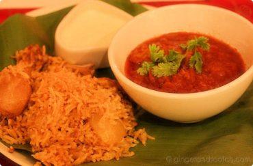 prawn curry with chicken biryani