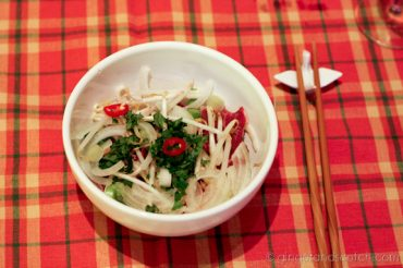 Prepping the bowls of Pho