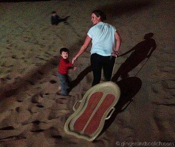 Full Moon Drumming - sledding on the sand