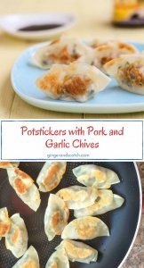 Potstickers (or dumplings/gyoza) with pork and garlic chives