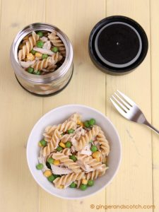 Simple Pasta Salad with Chicken, Peas and Corn
