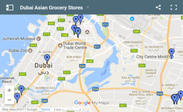 Map of Asian Grocery Stores in Dubai
