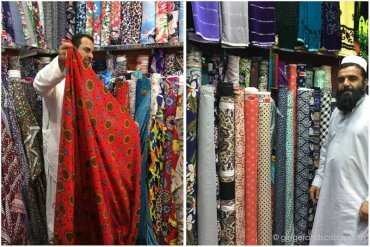 Fabric shopping in Naif Souk, Deira (Dubai)